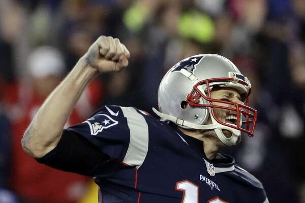 New England Patriots quarterback Tom Brady reacts after throwing a touchdown pass to Julian Edelman during the second half of the AFC championship NFL football game against the Pittsburgh Steelers, Sunday, Jan. 22, 2017, in Foxborough, Mass. (AP Photo/Matt Slocum)