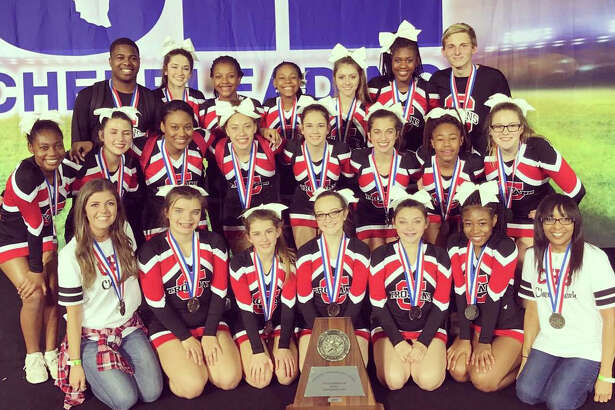 The 2016-17 Coldspring-Oakhurst Trojan Cheer Team, pictured from left to right, are (back row) D'Ondre Blanks, Makenzie Taylor, Dainiquia Ivory, Karisa Harrison, Paige Smith, Jade Eldridge, and Avery Hickman; (middle row) Bethany McClendon, Brianna Hudson, Jasmine Williams, Camary Patterson, Malin Patrick, Feather Wilson, Quin'ta Montgomery Miller, and Cori Amszi; (front row) Sponsor Courtney Comeaux, Hailey Adams, Chelsey Warren, Breanna Kelley, Paxton Bourgeois, Deryon Moss and Sponsor Marilynn Toney.