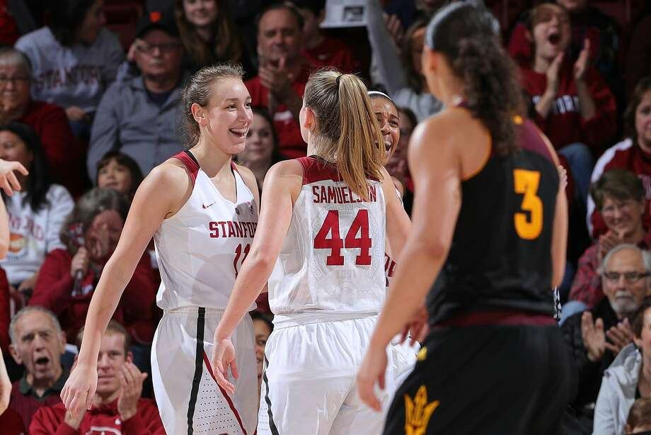 Stanford's Alanna Smith (left) and Karlie Samuelson celebrate during the Cardinal's 66-56 home win over Arizona State. Photo: Bob Drebin/ISIPhotos.com