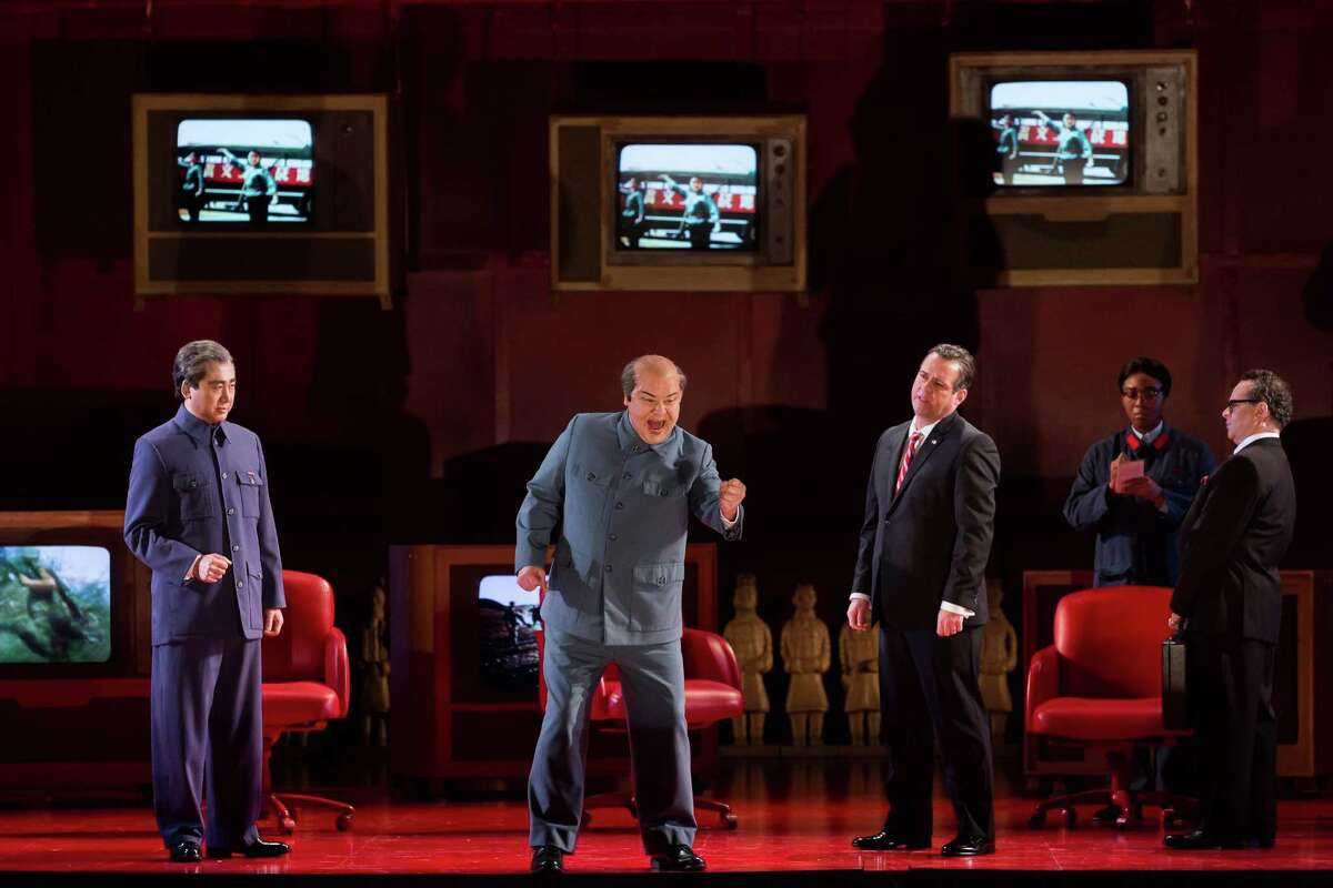 Mark Shelton, second from left, plays Mao Zedong in Houston Grand Opera's 2017 production of