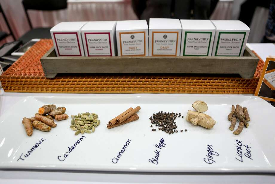 Pranayums spices at the Fancy Food Show. Photo: Amy Osborne, Special To The Chronicle