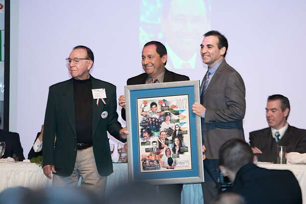 Isidro Garcia, J.J. Gomez and Councilman Roberto Balli pose for a photo as Gomez is inducted into the Latin American Sports Hall of Fame on Saturday, January 21, 2017 at the Laredo Country Club.