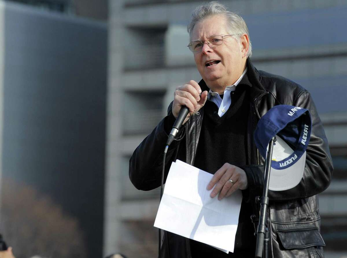 Stamford Mayor David Martin addresses the crowd of supporters for Women's March on Stamford in Stamford, Conn. on Jan. 21, 2017.