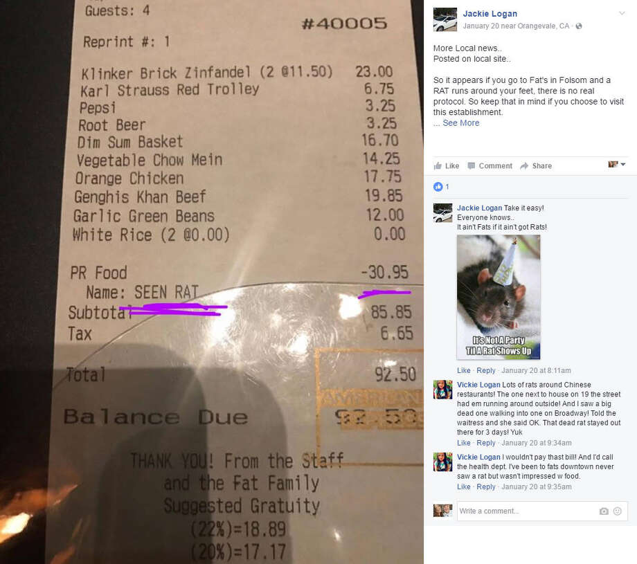 """A customer at a California restaurant went viral after her receipt of her """"seen rat"""" discount was shared on Facebook. Continue clicking to see the worst ever restaurant violations in Houston over the past 6 months.Source: Facebook Photo: Facebook"""