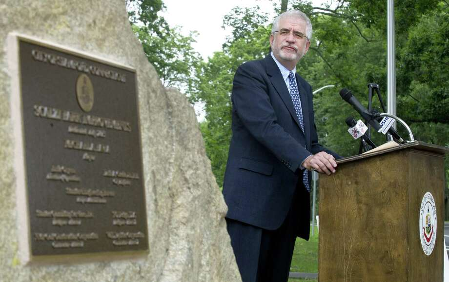 Randall Skigen, President of the Board of Representatives, speaks at Scalzi Park during the ceremony for the completion of the park's renovation on Tuesday, July 2, 2013. Photo: Lindsay Perry / Lindsay Perry / Stamford Advocate