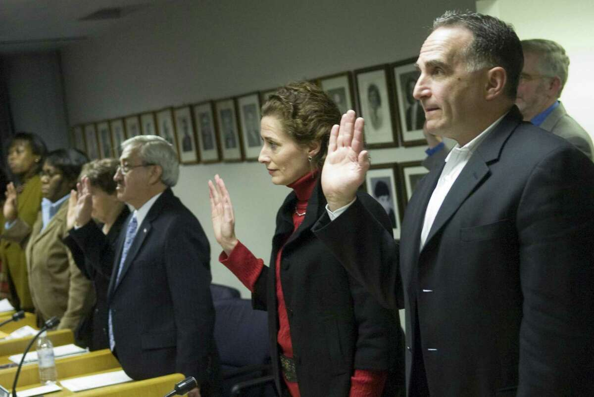 Mary Uva (R-1), a new member, and Scott Mirkin (R-13)during a meeting of Stamford's Board of Representatives on Monday, Dec. 7, 2009.