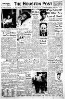 Houston Post front page (HISTORIC) - May 27, 1963 - section 1, page 1.  PLEASED PATIENTS 36 From JD Move Into New Hospital (Ben Taub Hospital)