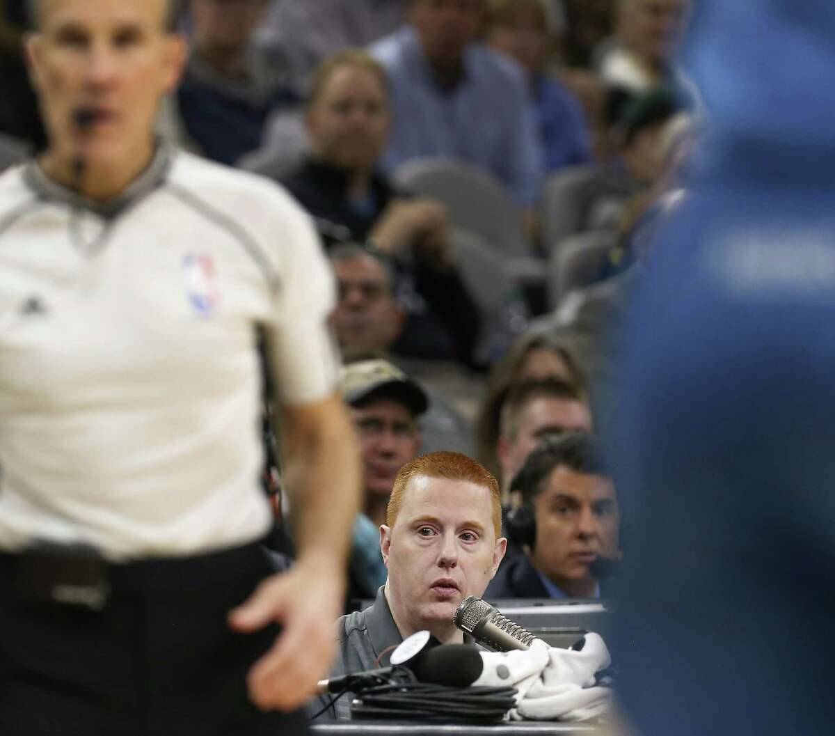 Spurs announcer Jonathan Sanford works the game against the Minnesota Timberwolves at the AT&T Center on Jan. 17, 2017.