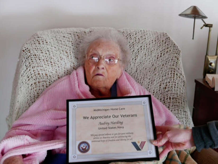 Audrey Harding, of Midland, recently received a 'We Appreciate Our Veterans' plaque from MidMichigan Home Care.