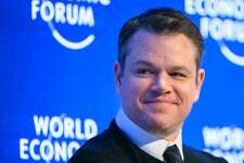 US actor Matt Damon looks on as he takes part in a panel session during the first day of the World Economic Forum, on January 17, 2017 in Davos.      The global elite begin a week of earnest debate and Alpine partying in the Swiss ski resort of Davos on January 17, 2017 in a week bookended by two presidential speeches of historic import. / AFP PHOTO / FABRICE COFFRINIFABRICE COFFRINI/AFP/Getty Images