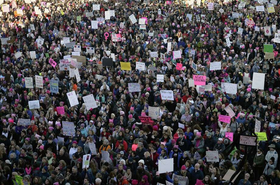 Ten thousand people attended the Women's March rally at the Connecticut state Capitol on Saturday. Photo: Jessica Hill / Associated Press / AP2017