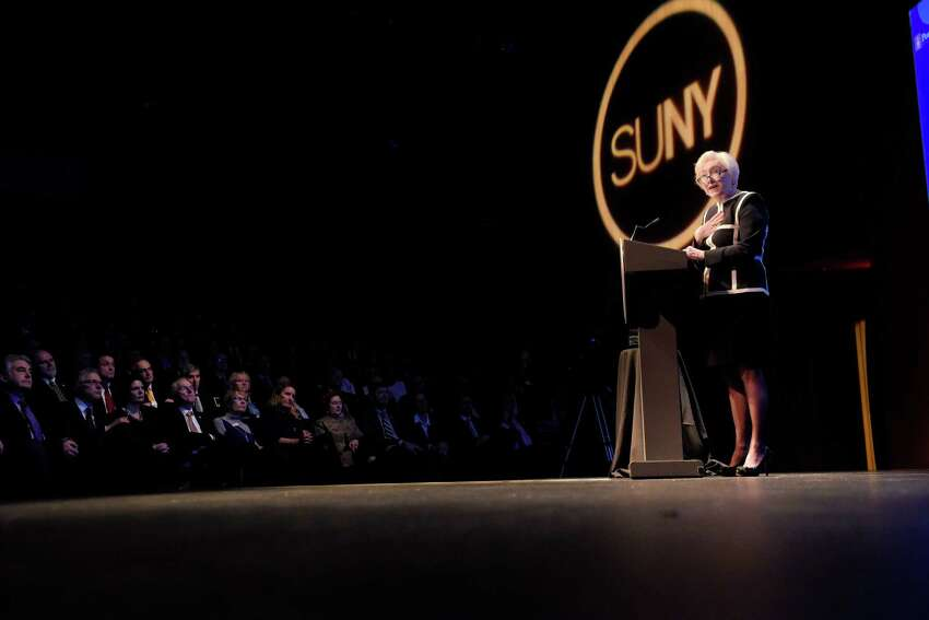 State University of New York Chancellor Nancy L. Zimpher delivers her last State of the University Address on Monday, Jan. 23, 2017, in Albany, N.Y. (Paul Buckowski / Times Union)