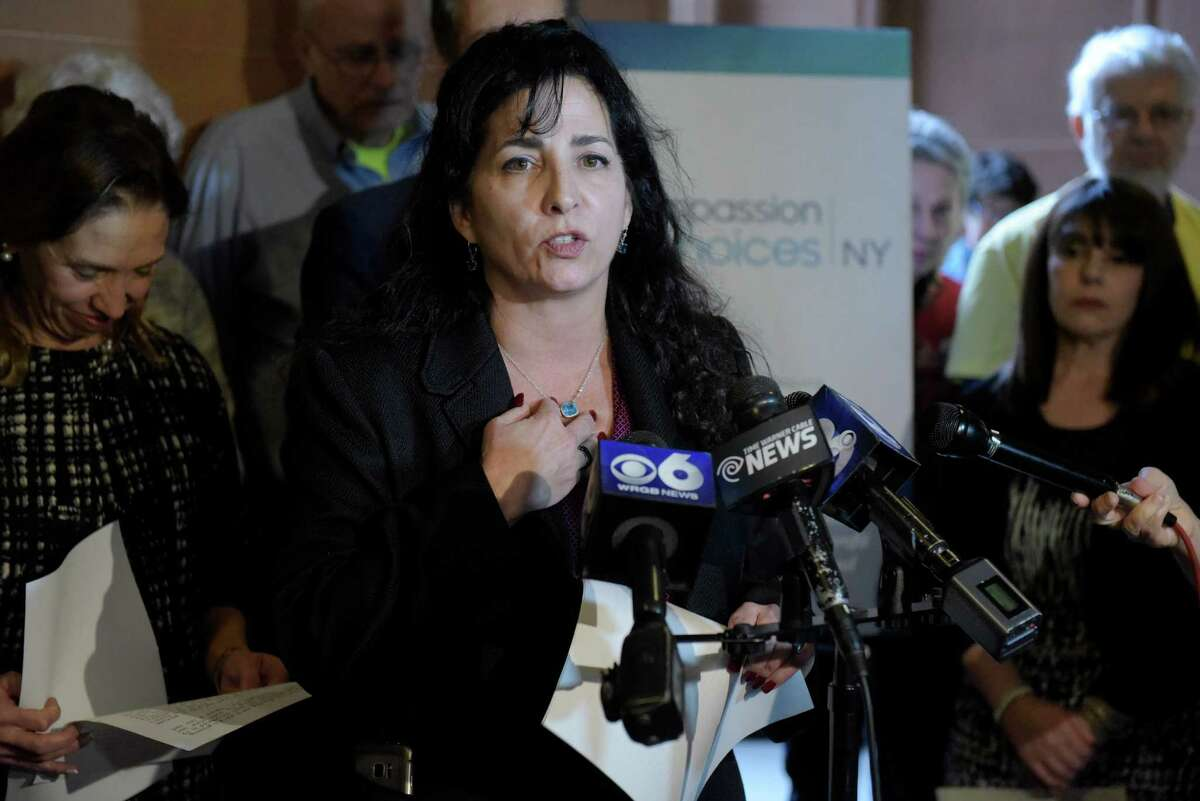 Senator Diane Savino talks about her support for medical aid in dying legislation during a press conference at the Capitol on Monday, Jan. 23, 2017, in Albany, N.Y. (Paul Buckowski / Times Union)