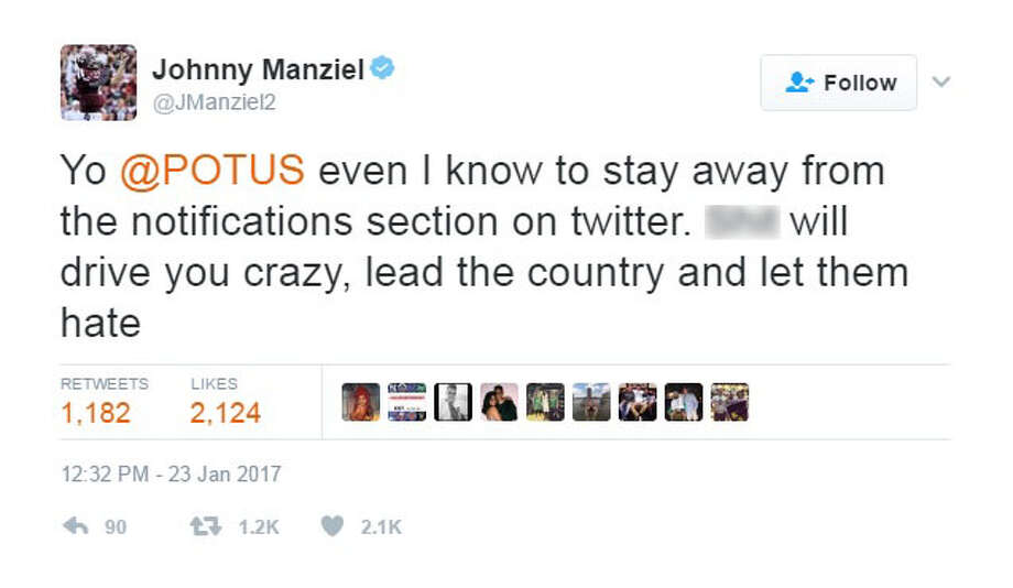 Johnny Manziel gives President Trump some advice, Twitter account ...