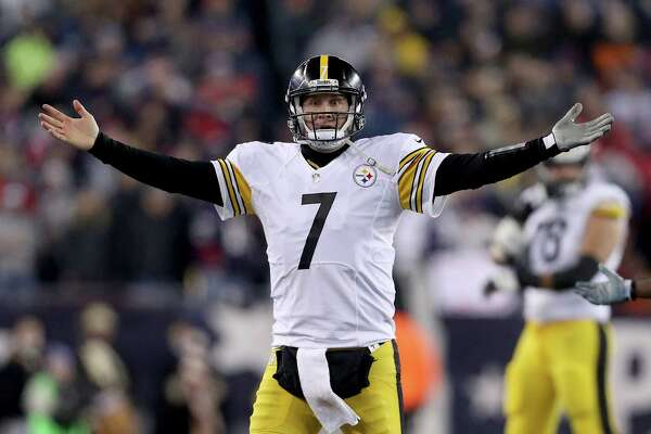 FOXBORO, MA - JANUARY 22:  Ben Roethlisberger #7 of the Pittsburgh Steelers reacts during the second half against the New England Patriots in the AFC Championship Game at Gillette Stadium on January 22, 2017 in Foxboro, Massachusetts.