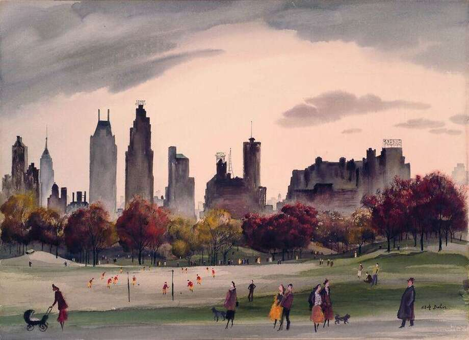 "Adolf Dehn's ""Autumn in Central Park,"" 1956, a watercolor on paper, will be on view at the Fairfield University Art Museum from Jan. 27 to April 7. It's on loan from a private collection in Washington, D.C. Photo: Fairfield University Art Museum / Contributed Photo"