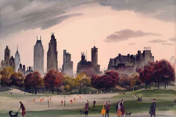 "Adolf Dehn's ""Autumn in Central Park,"" 1956, a watercolor on paper, will be on view at the Fairfield University Art Museum from Jan. 27 to April 7. It's on loan from a private collection in Washington, D.C."