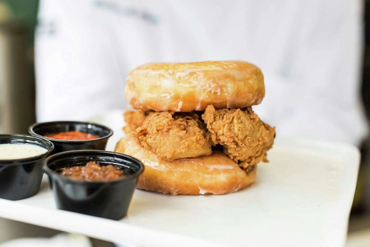 Where : Lee's Fried Chicken & Donuts, 601 Heights Blvd.Who: Lee Ellis, ownerWhat: Double Donut Fried Chicken SandwichChicken tenders between two glazed donuts with choice of sauce: