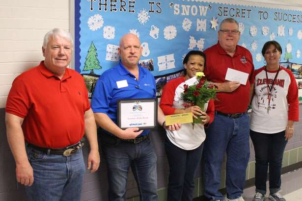 Varell Flowers is the Cleveland ISD Teacher of the Week for the week ending Jan. 20, 2017. Flowers is a math teacher at Douglass Learning Academy, where she has taught for three years. Flowers earned her bachelor of science degree from Sam Houston State University. After teaching 11 years, she returned to SHSU to earn her master's degree in curriculum and instruction with a minor in health. Pictured left to right are Superintendent Dr. Darrell Myers, Buck Anderson of Anderson Quick Lane, Flowers, Jeff McClain of KORG 95.3 FM and DLA Principal Sandy Williamson. The Teacher of the Week award is sponsored by Anderson Quick Lane Tire and Auto, Chef's House and Easy Street Florist.