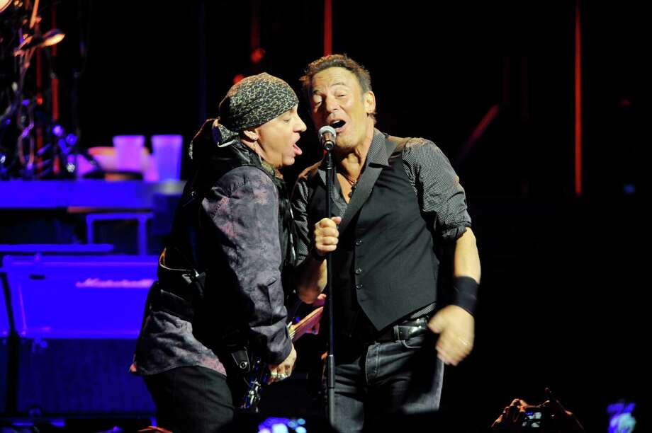 """Stevie Van Zandt, left, and Bruce Springsteen along with the other members of The E Street Band perform at the Times Union Center for their tour to promote their remastered release of the double album  """"The River"""" on Monday, Feb. 8, 2016, in Albany, N.Y.  (Paul Buckowski / Times Union) Photo: PAUL BUCKOWSKI / 10035325A"""