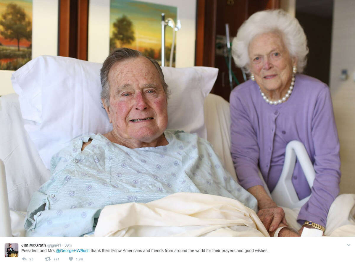President George H. W. Bush and wife Barbara smile as she visits him in the hospital. Source: Twitter