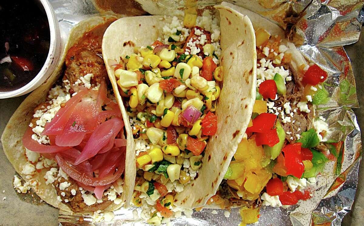 A trio of tacos -- albóndigas, mahi mahi and brisket -- from Zócalo.
