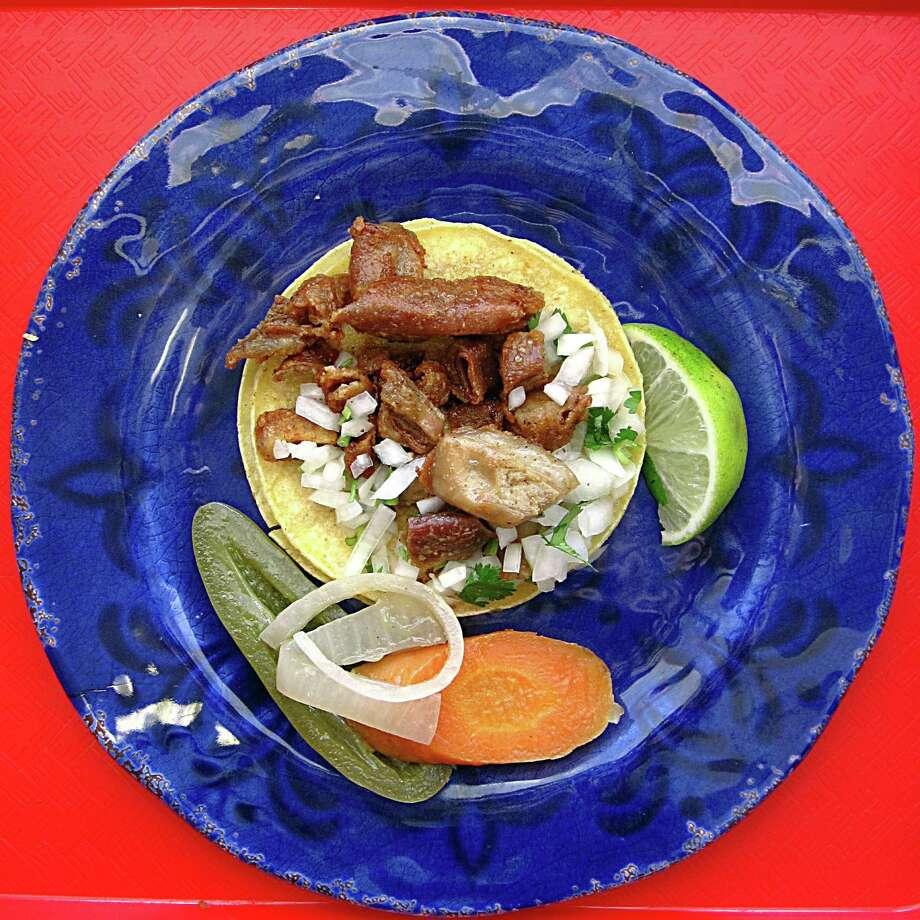 Week FourTaco of the week: Crispy tripas from Tacos Y Burritos Metro Basilica 2 on Culebra Road. Photo: Mike Sutter /San Antonio Express-News