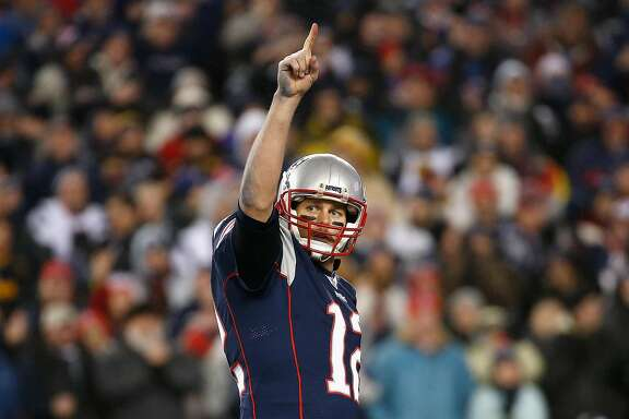 FOXBORO, MA - JANUARY 22:  Tom Brady #12 of the New England Patriots reacts during the second half against the Pittsburgh Steelers in the AFC Championship Game at Gillette Stadium on January 22, 2017 in Foxboro, Massachusetts.  (Photo by Jim Rogash/Getty Images)