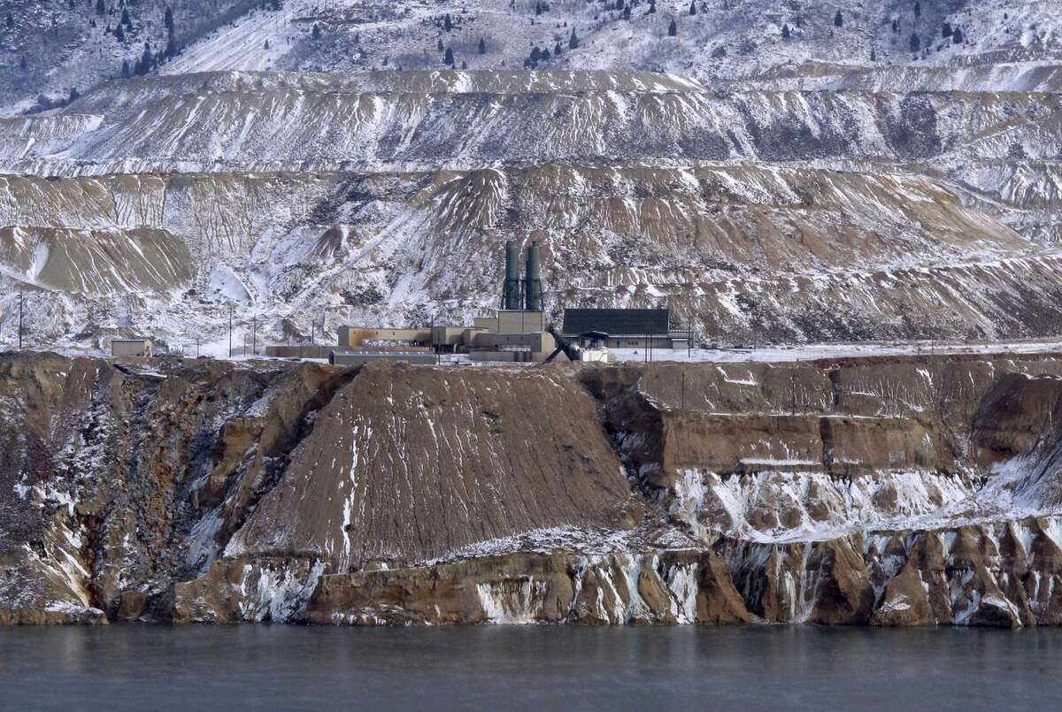 A photo from December shows the Horseshoe Bend treatment plant on the edge of the Berkeley Pit in Butte, Mont. The former copper mine contains billions of gallons of contaminated water.