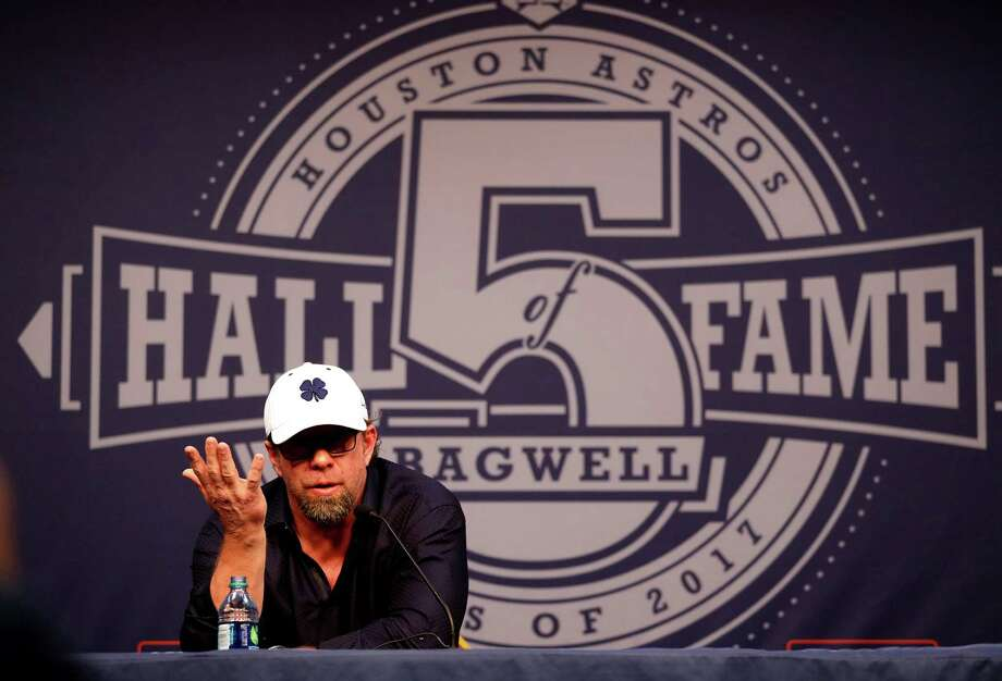 during a press conference with new Hall of Fame elected, Jeff Bagwell, at Minute Maid Park, Monday, January 23,  2017. Photo: Karen Warren, Houston Chronicle / 2017 Houston Chronicle