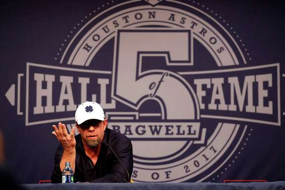 during a press conference with new Hall of Fame elected, Jeff Bagwell, at Minute Maid Park, Monday, January 23,  2017.