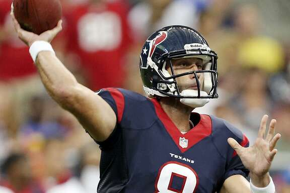 Texans' Matt Schaub passes against the Miami Dolphins during first half action on Aug. 17, 2013 at Reliant Stadium in Houston/