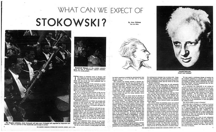 Houston Chronicle inside page (HISTORIC) – May 1, 1955 - section Rotogravure, page 8-9.  WHAT CAN WE EXPECT OF STOKOWSKI? (Leopold Stokowski) Photo: HC Staff / Houston Chronicle