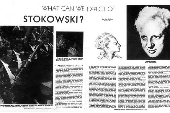Houston Chronicle inside page (HISTORIC) – May 1, 1955 - section Rotogravure, page 8-9.  WHAT CAN WE EXPECT OF STOKOWSKI? (Leopold Stokowski)