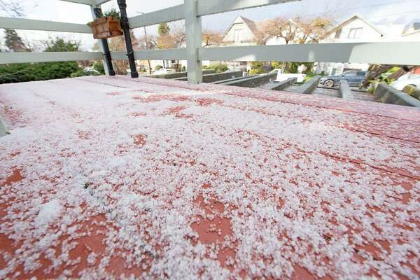 Large pellets of hail fell in Berkeley on Monday afternoon.