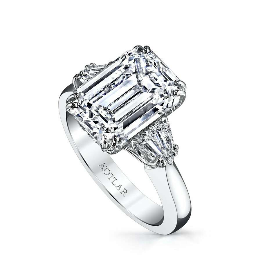 Harry Kotlar emerald cut diamond engagement ring in platinum, available at Shreve & Co. Photo: Courtesy Of Shreve & Co.