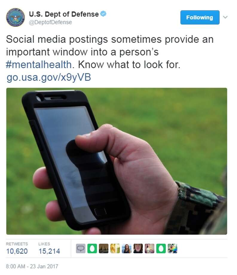 "The U.S. Department of Defense tweeted ""Social media postings sometimes provide an important window into a person's mental health,"" on Jan. 23, 2017.Some Twitter users questioned if the tweet was directed at President Donald Trump.Image source: Twitter Photo: Twitter"
