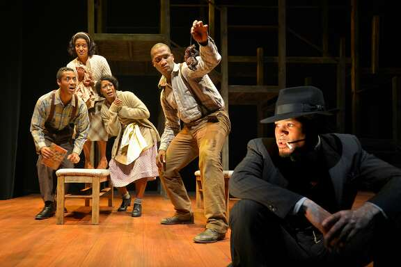 "From left: Buddy (Dane Troy), Vera (Ryan Nicole Austin), Hannah (C. Kelly Wright), Bigger (Jerod Haynes) and the Black Rat (William Hartfield) in Marin Theatre Company's ""Native Son."""
