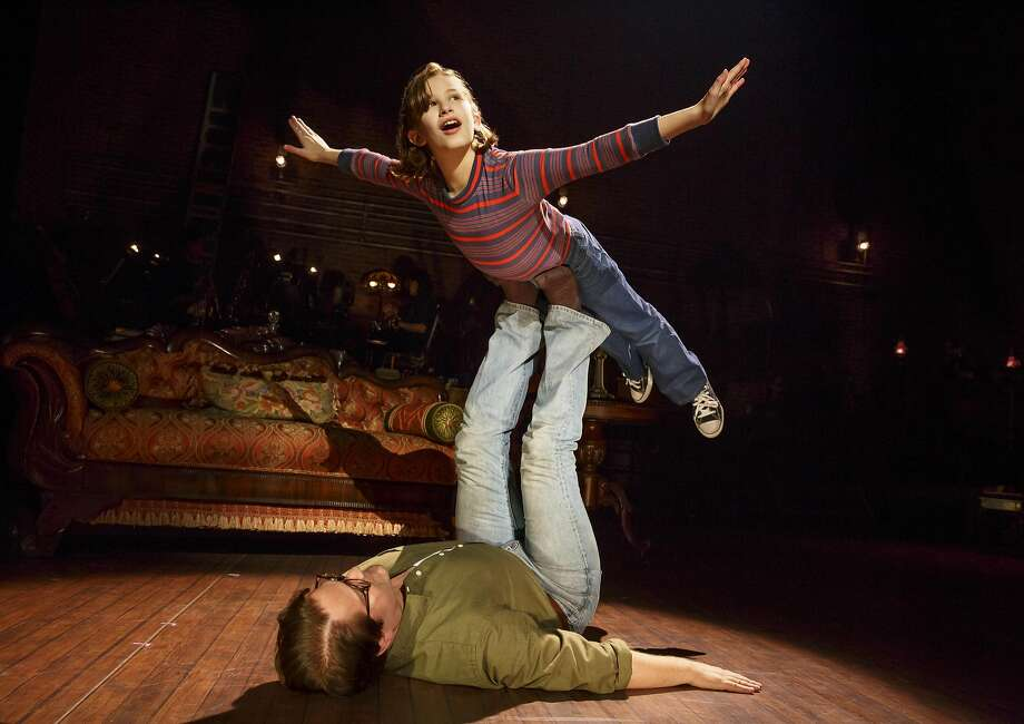 "Alessandra Baldacchino as Small Alison and Robert Petkoff as Bruce in ""Fun Home"" at the Curran. Photo: Joan Marcus, The Curran"