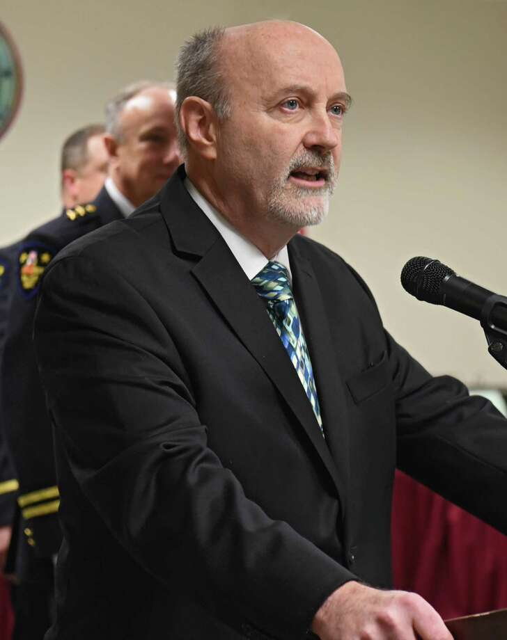 Troy Mayor Patrick Madden speaks at a swearing-in ceremony for seven new police officers on Monday, Jan. 23, 2017 in Troy, N.Y. (Lori Van Buren / Times Union) Photo: Lori Van Buren / 20039474A