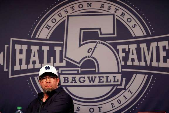 during a press conference with new Hall of Fame elected, Jeff Bagwell, at Minute Maid Park, Monday, January 23,  2017.  ( Karen Warren / Houston Chronicle )