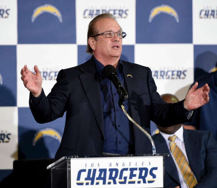 Los Angeles Chargers owner Dean Spanos speaks to the crowd to introduce the Los Angeles Chargers to the Los Angeles area during an NFL football news conference in Inglewood, Calif., Wednesday, Jan. 18, 2017. (AP Photo/Kelvin Kuo) ORG XMIT: CAKK104 Photo: Kelvin Kuo / FR170752 AP