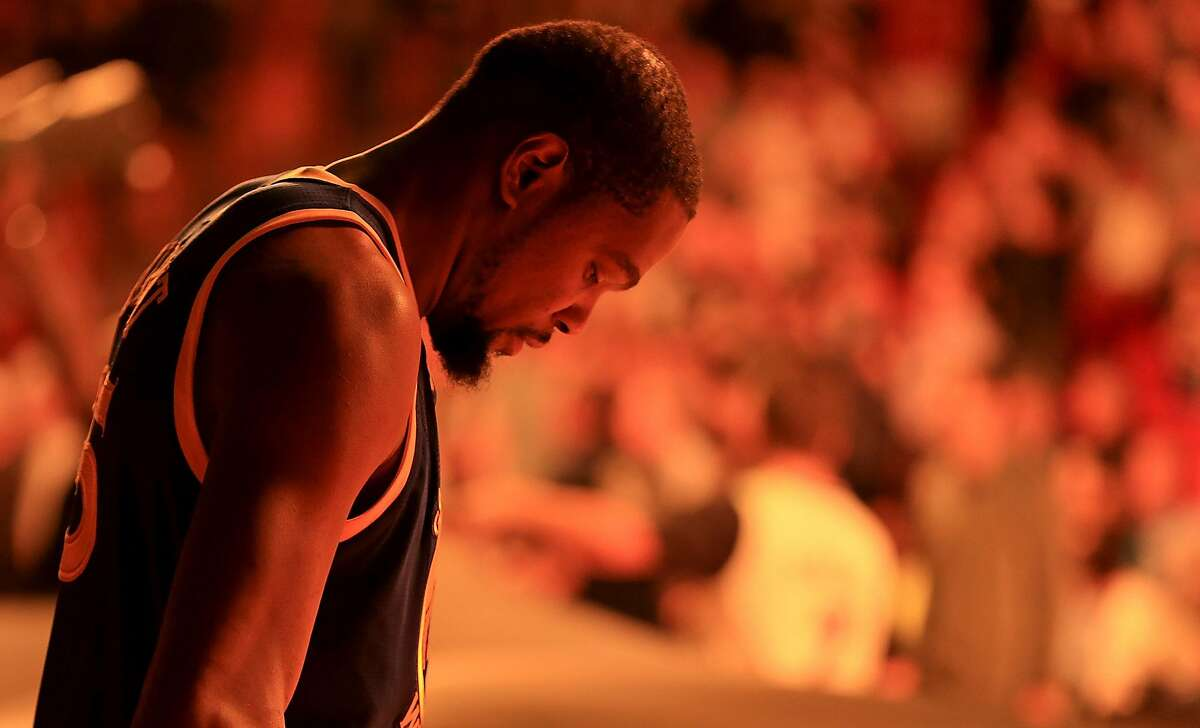 Kevin Durant #35 of the Golden State Warriors looks on during a game against the Miami Heat at American Airlines Arena on January 23, 2017 in Miami, Florida.