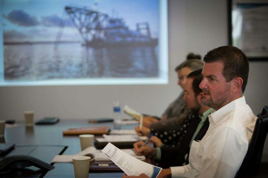 Texas State Senator Brandon Creighton, right, attends a meeting with the Port Commission Chairman Janiece Longoria about the status and future of the Port of Houston Authority, Tuesday, April 12, 2016, in Pasadena. A new legislative committee has been created to study Texas ports, led by State Sen. Creighton. ( Marie D. De Jesus / Houston Chronicle ) Photo: Marie D. De Jesus, Staff / © 2016 Houston Chronicle