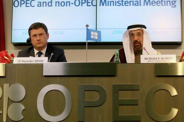 Russia's Alexander Novak and Saudi Arabia's Khalid Al-Falih hold an OPEC news conference last month.