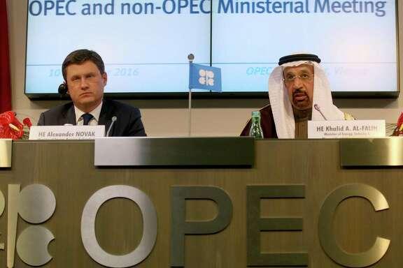 Russia's Alexander Novak and Saudi Arabia's Khalid Al-Falih hold an OPEC news conference last month.