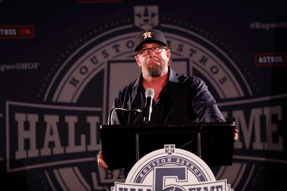 Jeff Bagwell speaks during a rally for his Hall of Fame election in Union Station at Minute Maid Park, Monday, January 23,  2017.