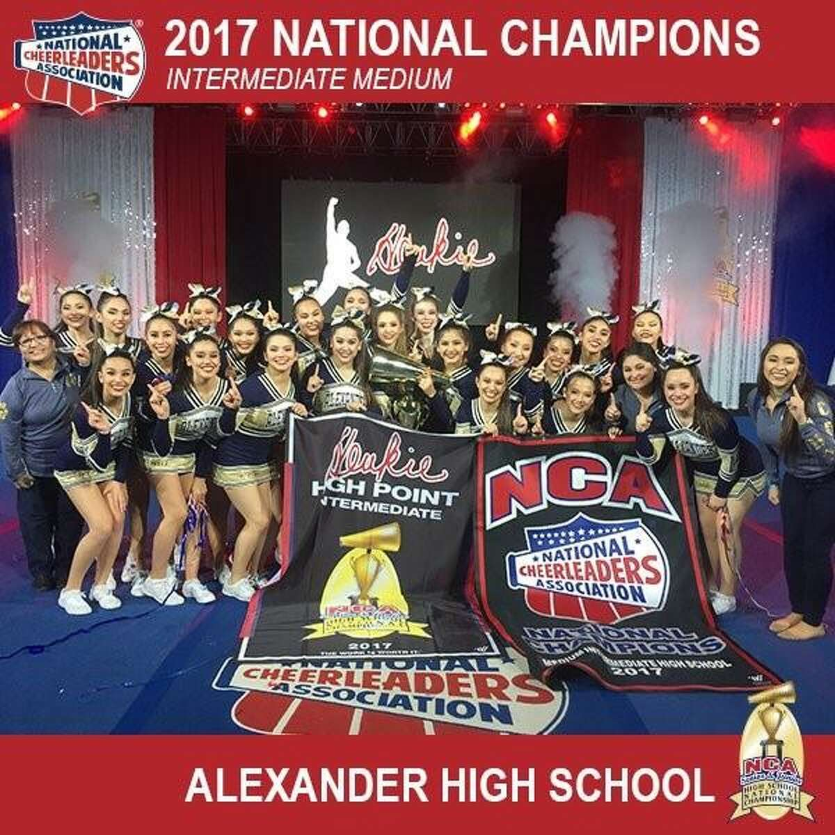 Pictured are the J.B. Alexander High School cheerleaders. The team made the City of Laredo and State of Texas proud Sunday evening by outscoring 17 of the best squads from across the country.