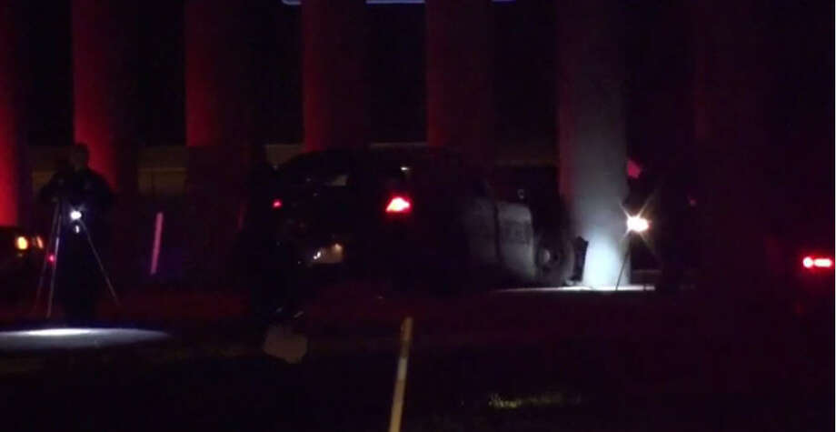 Police officers crashed their squad car into a concrete overpass pillar while chasing a suspect about 2:30 a.m. Tuesday, Jan. 24, 2017, on Greens Road at East Hardy Road in north Houston. (Metro Video)