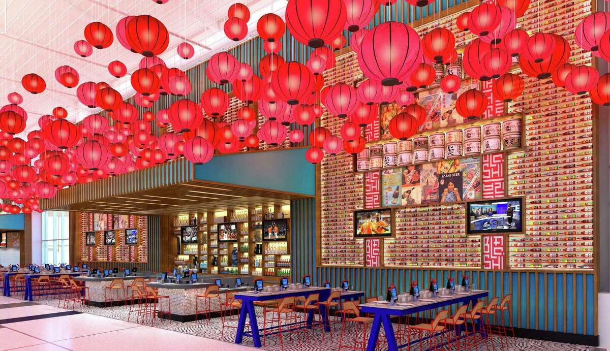 This rendering shows the Yume restaurant, with public iPads, that will be in Terminal E at Bush Intercontinental Airport.